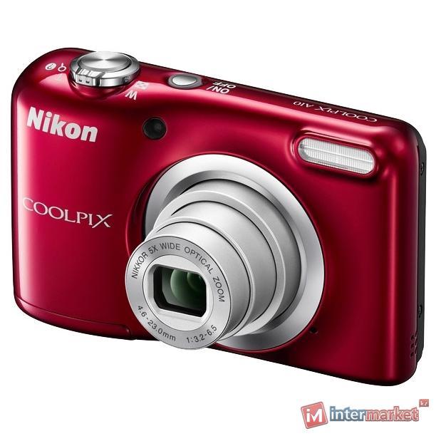 Фотоаппарат Nikon CoolPix A10, 16.1Mpx, 4.6-23mm, 5x zoom, JPEG/AVI, f/3.2-6.5, SD, 2xAA, Red